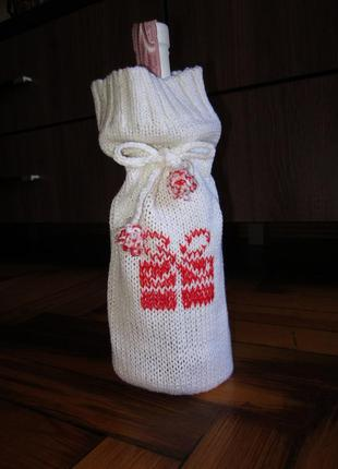 Декоративный_подарочный вязаный чехол на бутылку_свечи_любой п...