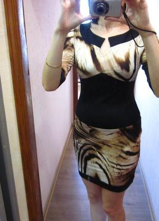 Облегающее платье мини с принтом_строгое_на выпускной_офис