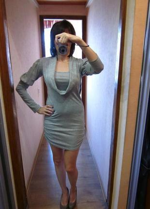Платье c люрексом трикотажное облегающее мини sabra турция