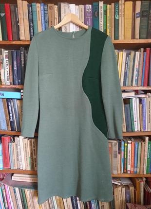 Вязаный теплый костюм комплект _платье-футляр и пальто-кардиган