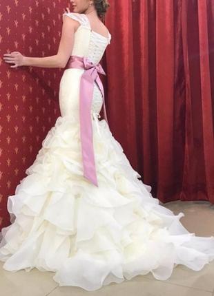 Элегантное свадебное платье рыбка цвет айвори