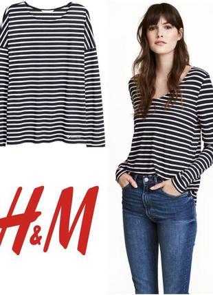 H&m basic базовая кофта футболка - топ на длинный рукав в поло...