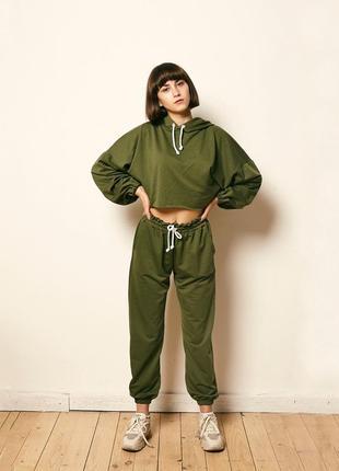 Спортивный костюм хаки зеленый комплект