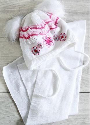 Комплект для девочки шапка с шарфом