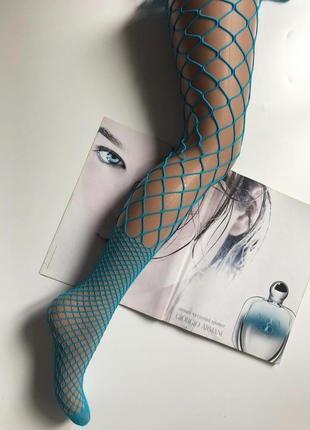 Модные колготки крупная мелкая сетка голубого цвета gatta {р. 3}