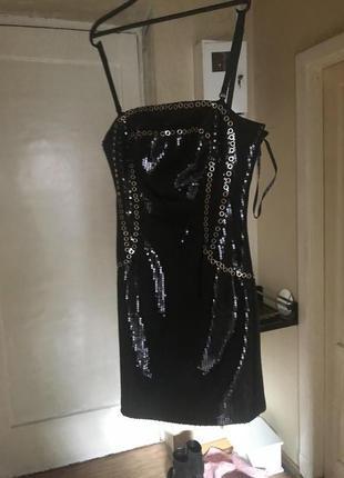 Платье вечернее чёрное р44