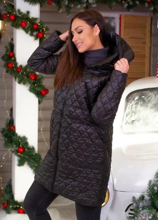 Куртка удлиненная пальто женское демисезонное черное с капюшоном