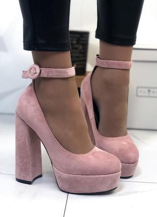 ❤ женские пудровые туфли на высоком толстом каблуке ❤