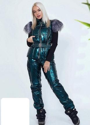 Тёплый костюм  на флисе шикарно блестит, украшен мехом штаны ж...