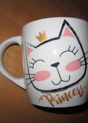 Забавная няшная чашка с кошечкой princess