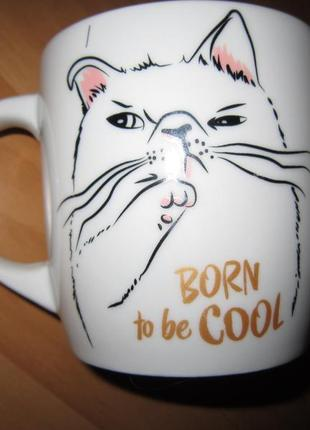 Забавная чашка с котом born to be cool