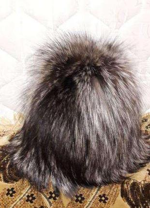Шапка из натурального меха чернобурки