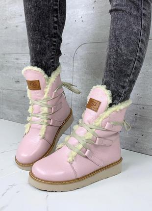 Зимние розовые ботинки из натуральной кожи