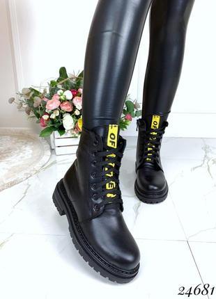 Зимние кожаные ботинки на низком каблуке, чёрные зимние ботинк...