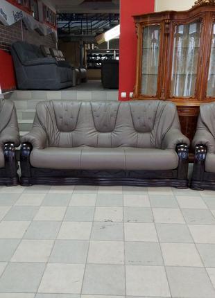 Кожаный комплект 3+1+1 диван кожаный шкіряний комплект мягкая меб