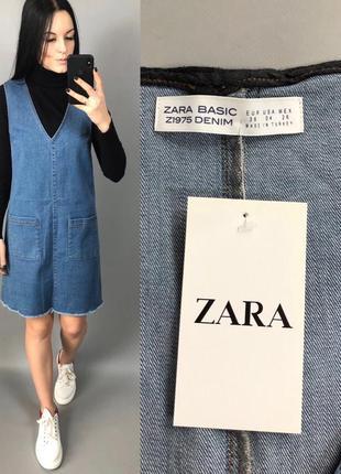 Платье джинсовое сарафан джинс zara