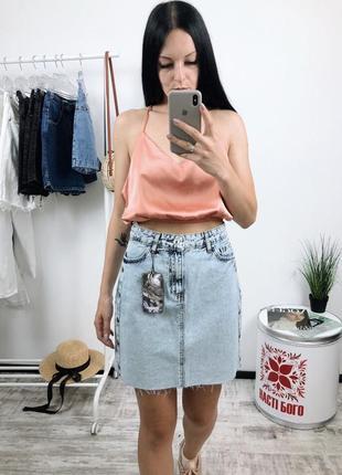 Джинсовая юбка высокая посадка винтаж варенка рваный низ лампасы