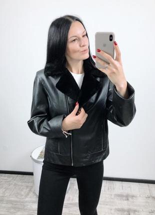 Кожанка косуха куртка натуральная кожа утепленная vero moda