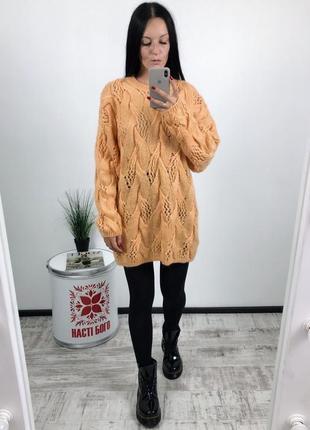 Вязаное платье удлиненный свитер крупной вязки мохер