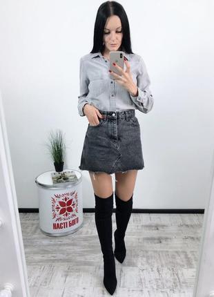 Джинсовая юбка высокая посадка винтаж bershka vintage