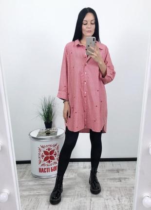 Платье рубашка вышивка с вышивкой clockhouse