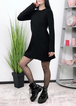 Базовое плотное черное платье zara