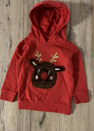 Новогодний свитер с капюшоном на новый год или рождество для м...