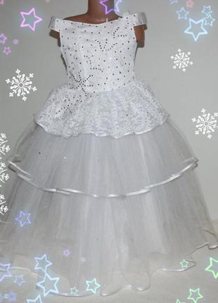 Платье новогоднее нарядное на девочку 5-9 лет