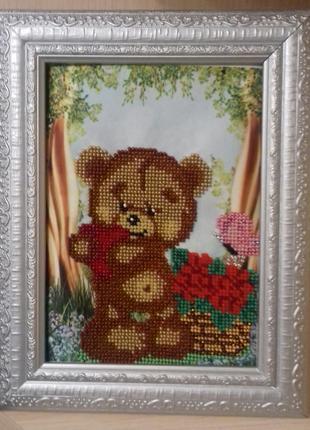 Картина вышита бисером Мишка с сердечком Медвежонок Медведь цветы