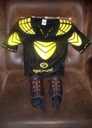 Футболка с защитой optimum р s + защита голеней nike в подарок