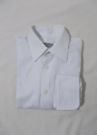 Рубашка статусная деловая белая полосатая под запонки 'van laa...