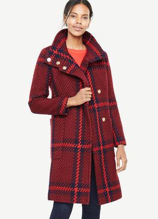 Красное шерстяное пальто ann taylor в клетку