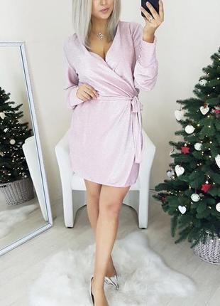 Сияющее платье на запах из люрекса с длинным рукавом и поясом