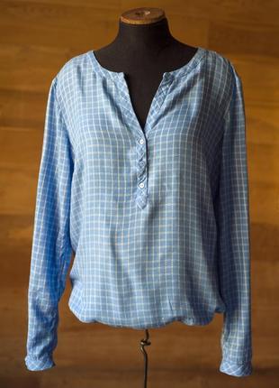 Нежная голубая блуза в клетку tom tailor, размер m