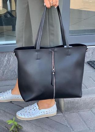 Черная классическая сумка шоппер