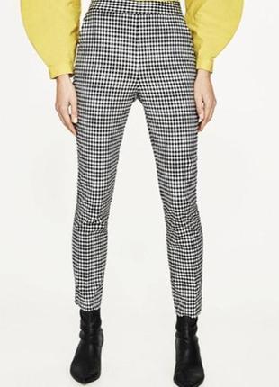 Стретчевые прямые брюки принт гусиная лапка