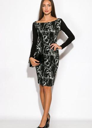 Нарядное чёрное платье с длинным рукавом
