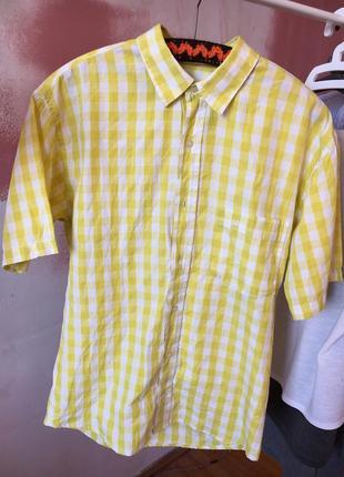 Рубашка с коротким рукавом в клетку s-m