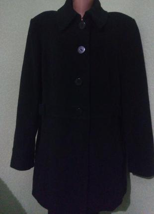Демисезонное шерстяное пальто большого размера 52-54,шерсть+ка...
