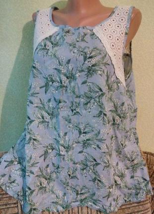 Летняя вискозная блуза блузка с прошвой
