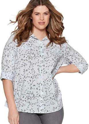 Летняя хлопковая блуза рубашка большого размера