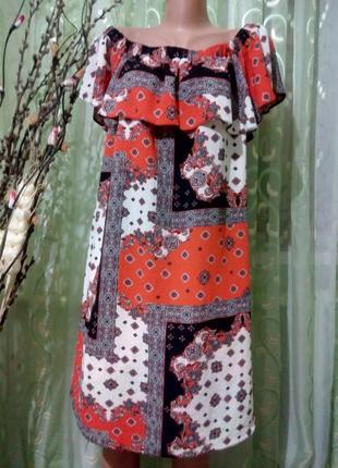 Летнее платье с открытыми плечами большого размера