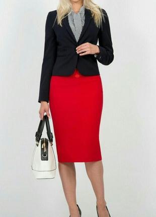 Стильная шерстяная красная юбка карандаш 52-54/ шерсть+вискоза