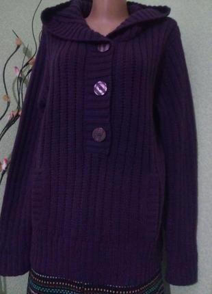 Вязаный джемпер свитер кофта с капюшоном большого размера