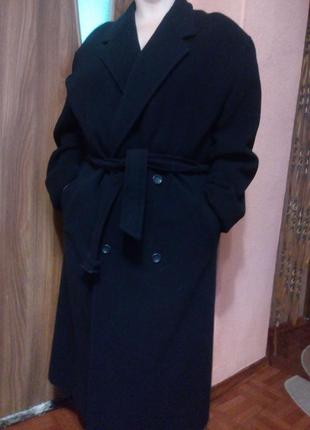Стильное шерстяное длинное пальто бойфренд большого размера/ше...