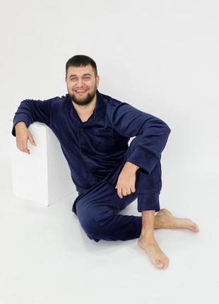 Чоловіча плюшева піжама, велюровий домашній костюм, жакет штани