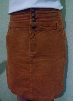 Стильная вельветовая юбка карандаш с высокой талией/юбка кемел