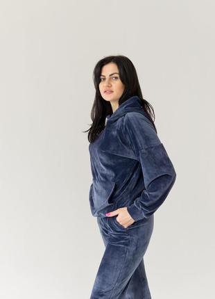 Велюровий якісний спортивний костюм, синій джинс/синий спортив...