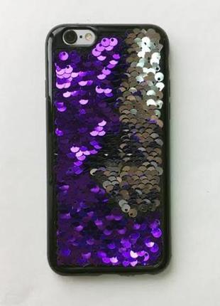 Чехол хамелеон пайетки перелив 6+ plus 6 плюс на айфон iphone ...