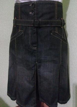 Джинсовая юбка с высокой посадкой 50 р.